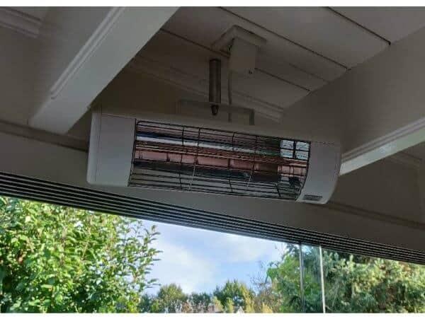 Harcosun terrasheater op plafond montage stift 2